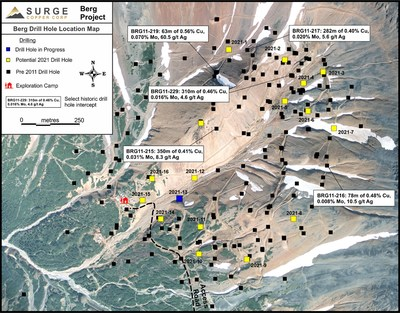 Figure 1. Plan map of drill hole locations for 2021 Berg drill program.